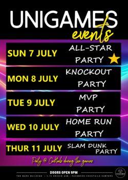 Div 2 Uni Games @Cocktails! (7th -11th July)